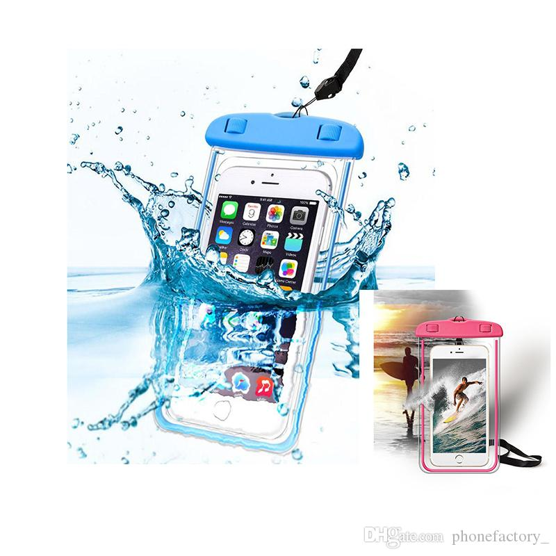 Universal For iphone 7 6 6s plus samsung S9 S8 Waterproof Case bag CellPhone Waterproof Dry Bag for phone Under 6.0 inch
