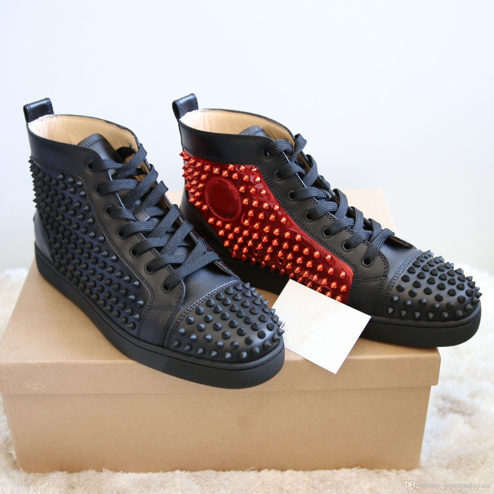 2019 Yüksek Kalite Marka Tasarımcı Sneakers Yüksek Top Spike Flats Ayakkabı Erkekler ve Kadınlar Için Kırmızı Alt Rahat Tasarımcı Parti Düğün