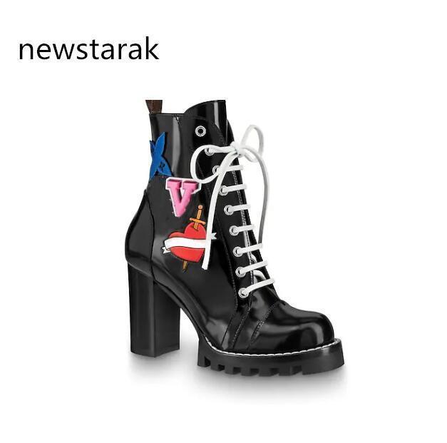 Женские кожаные ботинки 1a2y7w Star Trail популярный vogue каблук черные кожаные шнурки вулканизат подошва роскошные ботинки Мартин коробка