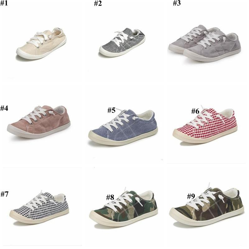 Memory Foam Shoes Plaid Canvas Shoes Camo Casual Flats Loafers Lazy Sneakers Breathable Single Shoe Chaussures Outdoor Sports Shoes D7423