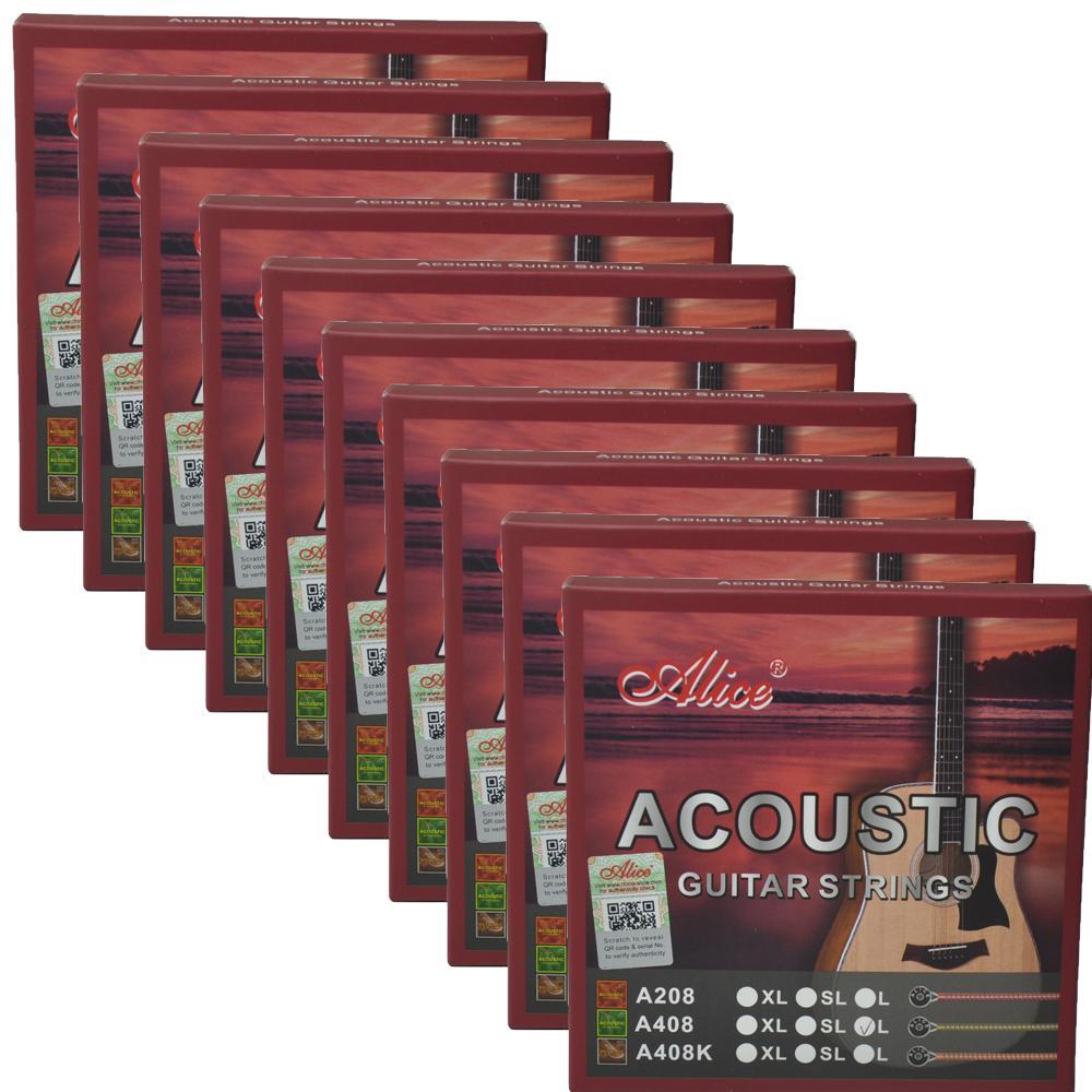 10SETS أليس الغيتار الصوتية سلاسل المغلفة سبيكة النحاس 6 سلاسل مجموعة A408L 012