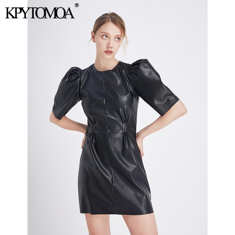 Mini cuir plissé élégant Vintage Faux Robe Femmes 2020 Mode O cou à manches bouffantes Retour Zipper PU Femme Robes Robes Y200101
