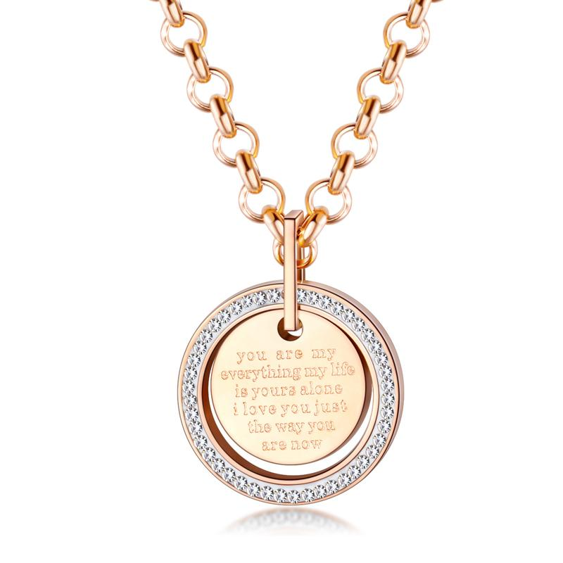 Sparkling Golden Colored Circle Charm Necklace
