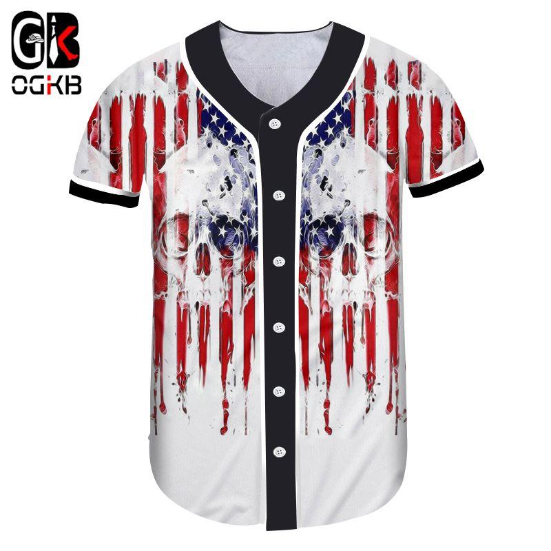 OGKB Baseball 3d Crânio bandeira americana Imprimir Unisex camisa de manga curta Mulheres / homens 5XL Roupa Musculação Academia T Tops
