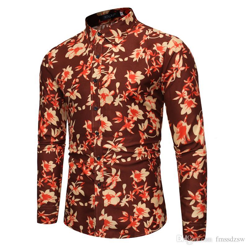 Außenhandel vier Jahreszeiten Herren Langarm gedruckt Shirt Persönlichkeit Mode Blumenhemd CS72
