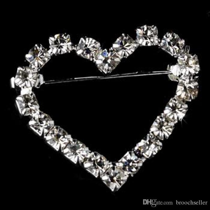 1 tums liten storlek Sparkly Silver Plated Clear Rhinestone Crydsal Wedding Heart Bridesmaid Brosch