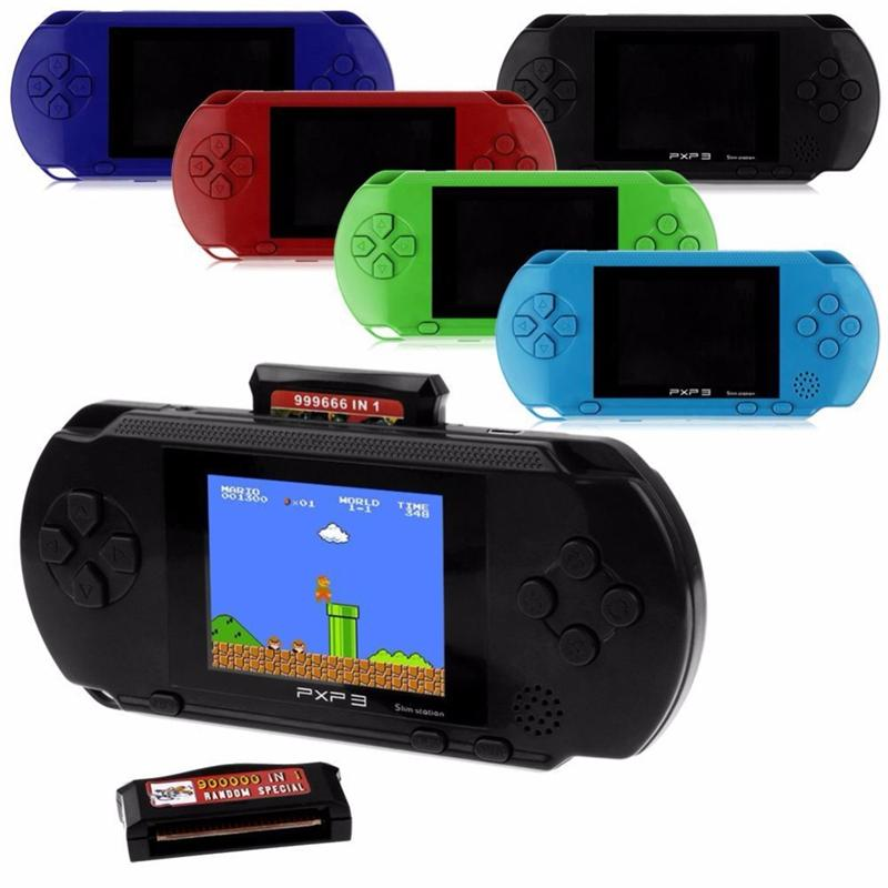 3 Inch 16 Bit PXP3 Slim Station Video Games Player Handheld Game Free Game Card Console with 150 Classic Games