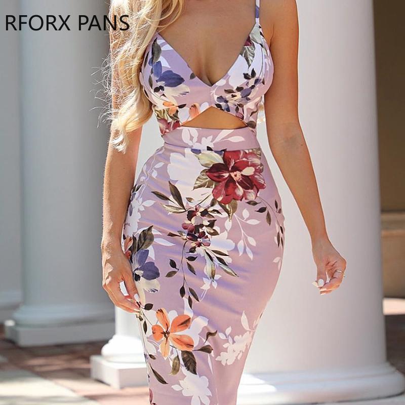 Women Spaghetti Strap Floral Print Cutout Bodycon Dress Midi Dress