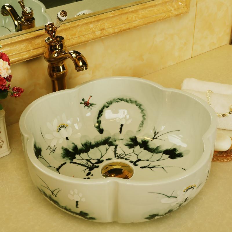 Chine fait à la main Lavabo comptoir Lavabo évier de salle de bain forme de fleur évier de lavage de salle de bassin en céramique