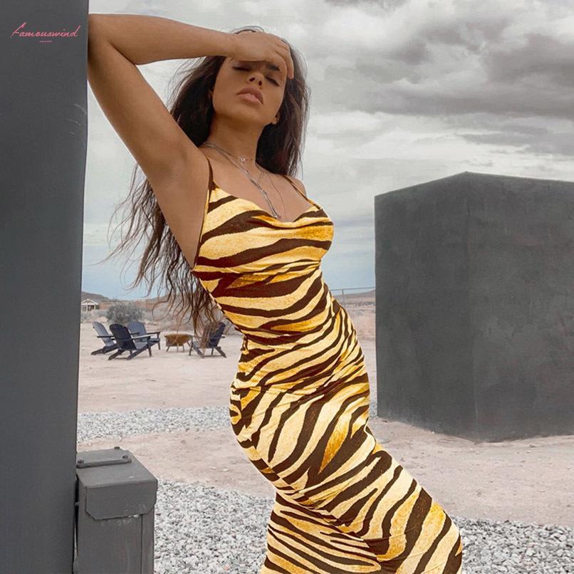 Animal Print Zebra Frauen Midi-lange Kleid-Bügel Bodycon Sexy Street Partei 2020 Herbst-Winter-Kleidung Outfit Clubwear