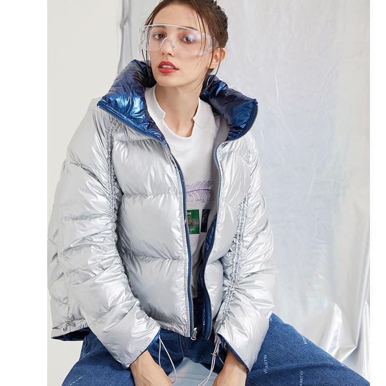 Para mujer diseñador de moda de lujo de Down Parkas invierno por la chaqueta mujeres sueltan el positivo y negativo gruesa capa del cortocircuito de la marca de desgaste al aire libre Parkas