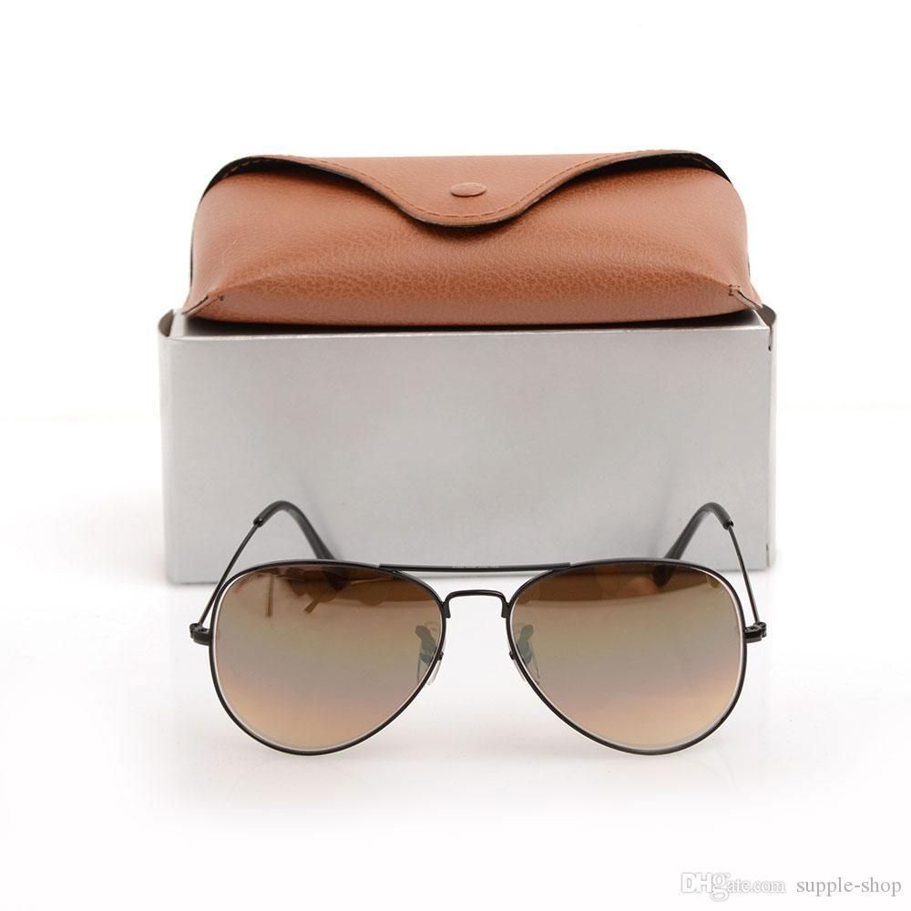 High Quality Mens Pilot Sonnenbrillen Designer Sonnenbrillen Gradient Glasobjektiv 58mm ray-Gläser Eyewear für Frauen Gläser mit ursprünglichen Fällen