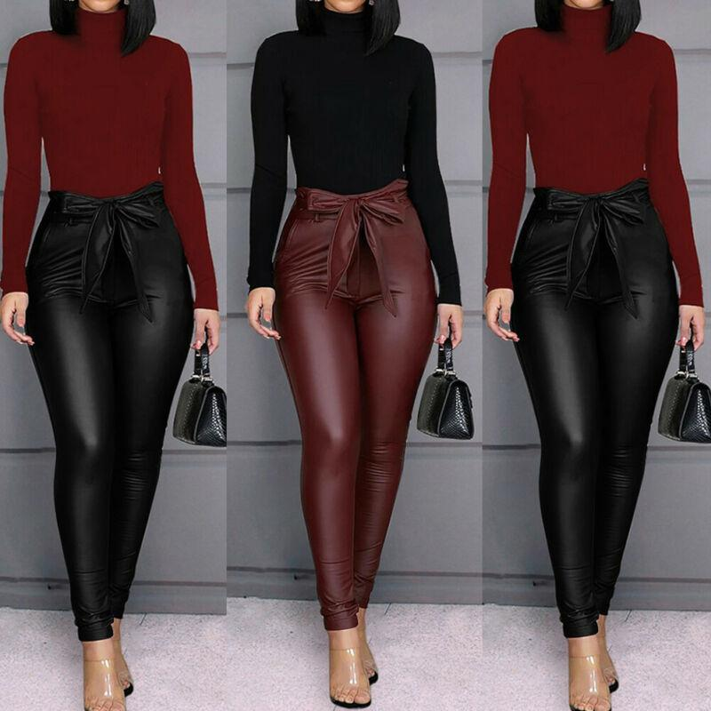Fashion Casual Solid Women's PU Leather Pants Sexy Stretchy Skinny Pencil Trousers High Waisted Slim Lace Up Buttom