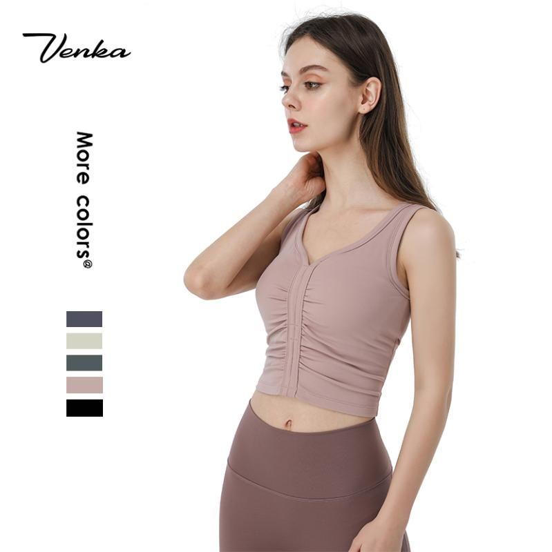 El trabajo de la moda todo el Textil Mujer de la gimnasia de la cosecha superior de alta resistencia a prueba de golpes delantero plisado mujeres del diseño de camiseta sin mangas