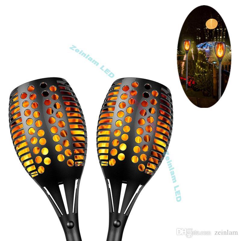 휴대용 유형 솔라 라이트 업 그레 이드, Flickering Flames Solar 토치 화재 야간 조명 야드 플라자 LED 불꽃 조명