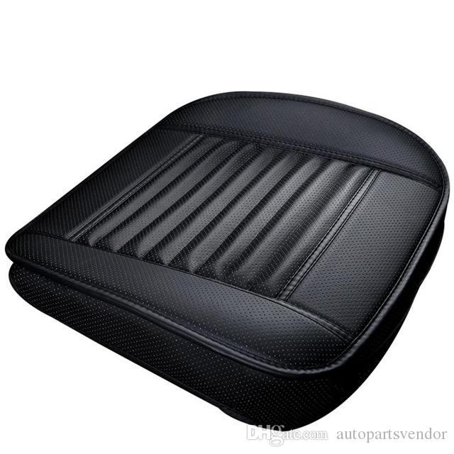 1 pcs Assento de Carro Preto sem Encosto PU de Couro De Bambu de Carvão Almofada Do Assento de Carro Automóveis de Proteção Não-slip Assento Capa