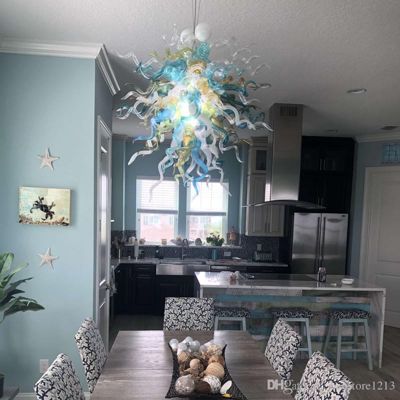 Contemporary Dining Room Hand Blown Glass Chandelier LED Light Source Multi  Colored Glass Flower Chandeliers Lighting Modern Pendant Lights Kitchen ...