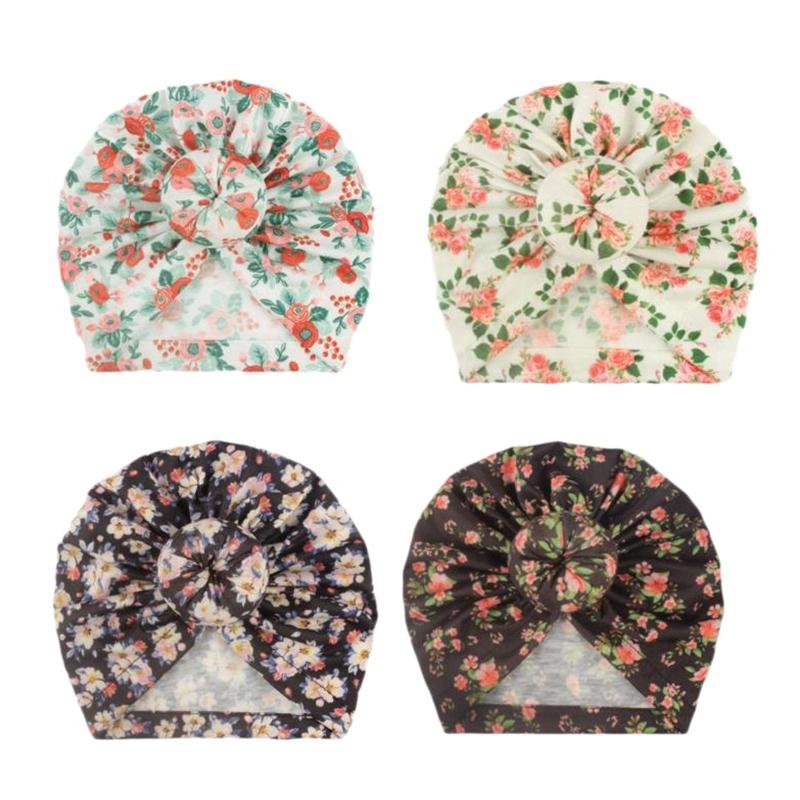 4 Pcs New Floral Baby Hat Baby Turban Beanie Hats Toddler Photography Props Newborn Beanie Cap Infant Accessories