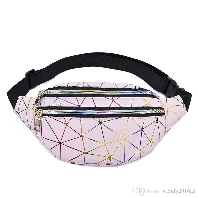 5 adet 2019 Yeni Lazer Bel Çantaları Kadın Bel Fanny Paketleri Kemer Çanta Deri Göğüs Çanta Geometri Bel Paketleri