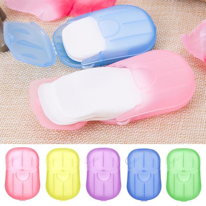 Voyage en plein air portable Mini-savon Voyage en plein air à usage unique main Savon papier mains bain propre petit savon Comprimés