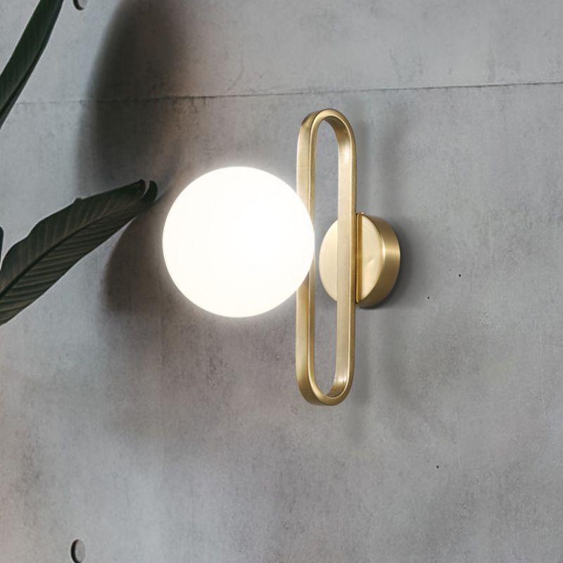 Nordic sfera di vetro contratta capo della lampada da parete letto salotto creativo decorazione personalità lampada da parete del corridoio prima di specchio
