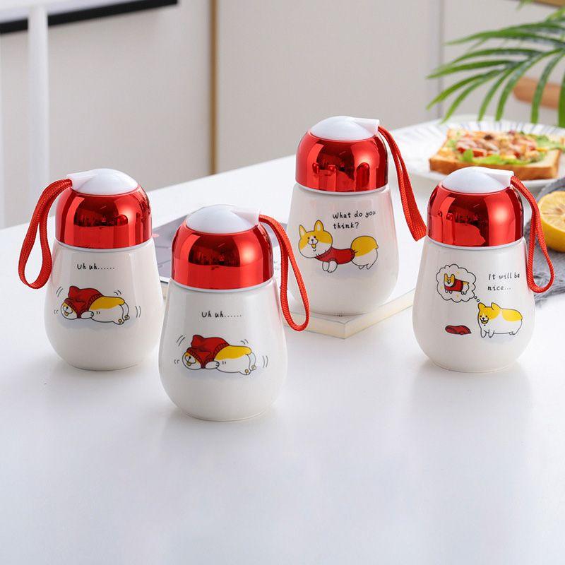 10OZ Huevos Tazas Resuable Heat Resistan Botellas de agua de cerámica Tazas de café portátiles con manija Tapas Eco Friendly Thermos