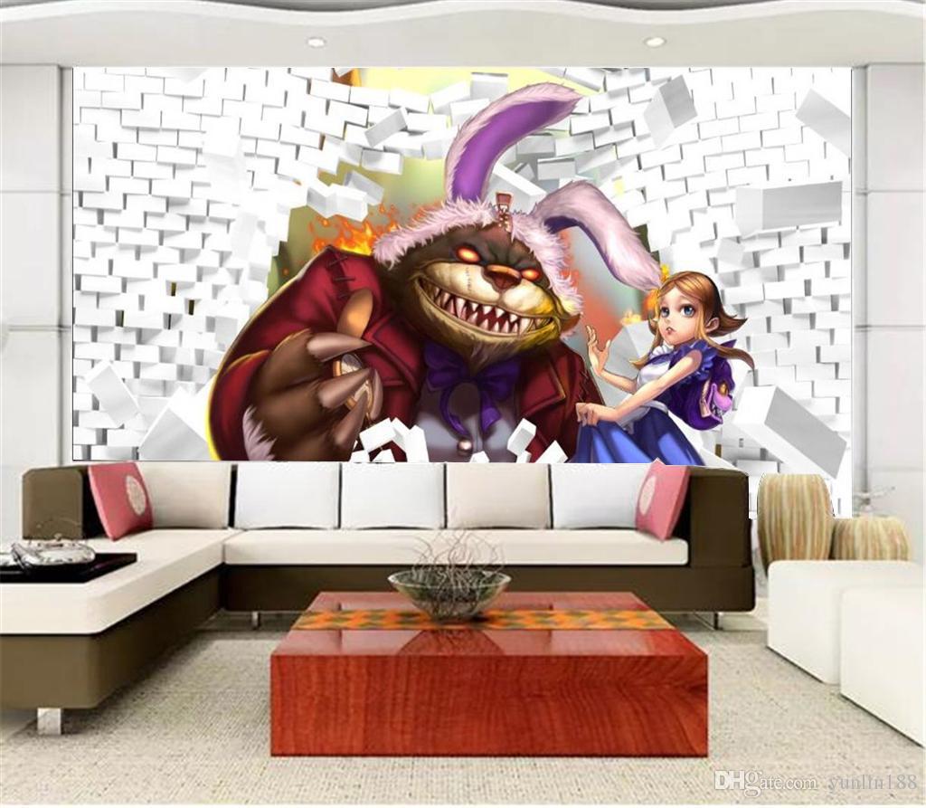 Promoción personalizada de papel tapiz 3d a través de la pared de dibujos animados de animales y hermosa niña hermosa papel tapiz decorativo decorativo