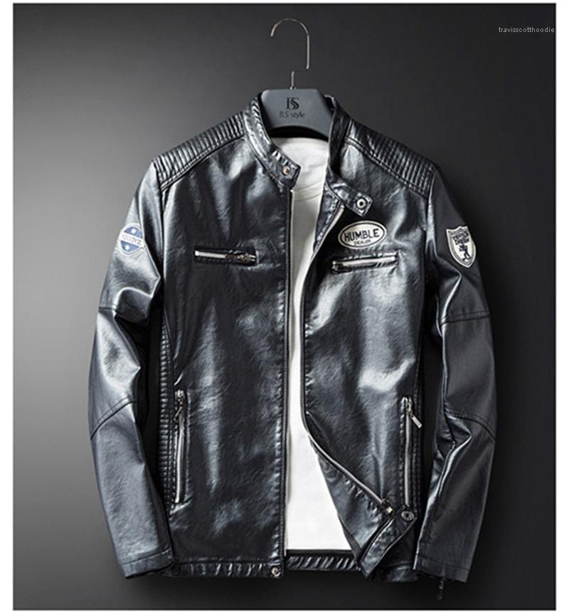С длинным рукавом мужской кожаный верхняя одежда дизайнер мужские куртки весна мотоцикл PU тонкий печатных Мужские пальто повседневные