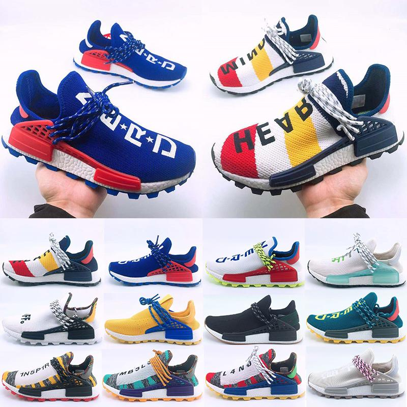 Sale Hot Human Race Hu Trail Running Shoes Men Women Pharrell Williams Yellow Noble Ink Core Black Red Sports Trainers Sneakers 36-47
