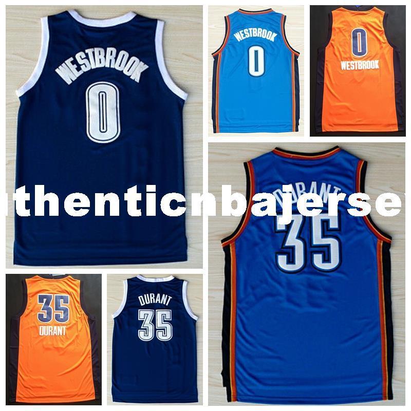 Hombres # 0 RW Jersey, 100% cosido al por mayor de alta calidad # 35 KD Jersey, naranja azul baloncesto Jersey Ncaa College