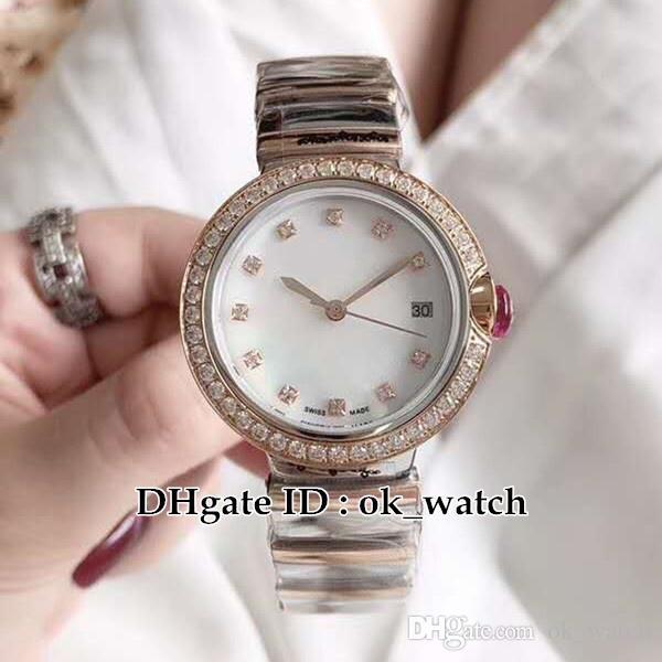 NEW LVCEA 102476 LU33WSPGDSPGD/11 Womens Quartz Watches Diamond bezel Rose gold case Stainless steel bracelet Ladies fashion Luxury watches