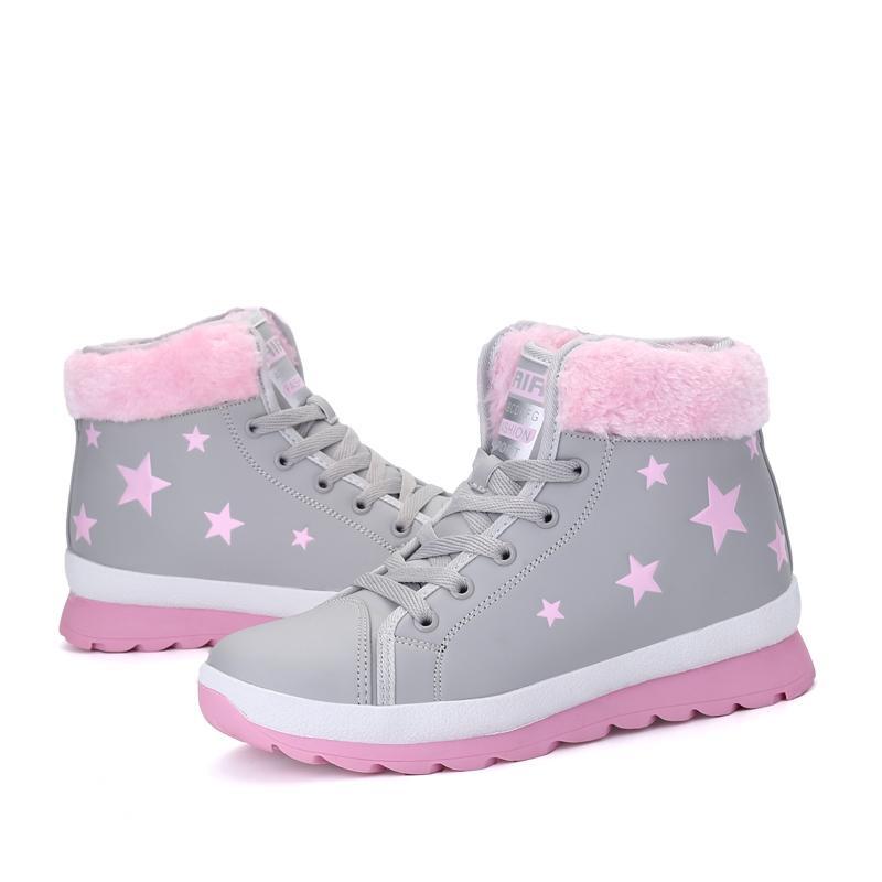 TESILIXIEZI снег ботинки женщин мода теплая зима кружева-up звезды плюшевые ботильоны туфли-Botas mujer свободного нескользящей плоские каблуки Женская обувь