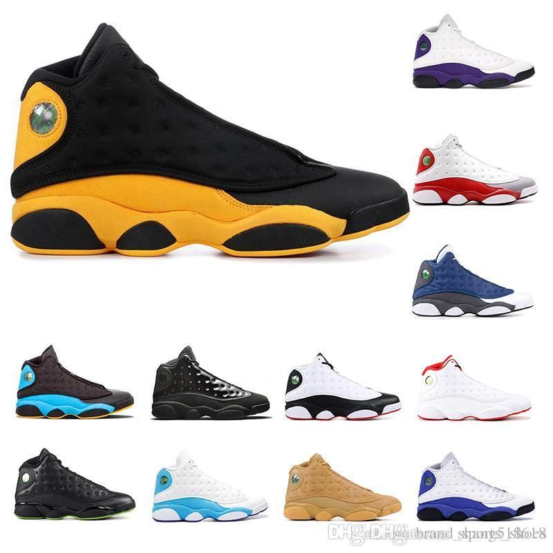 2020 13s mens basketball shoes COURT PURPLE Cap and gown Atmosphere Grey DIRTY BRED HYPER ROYAL GREY TOE BLACK CAT 13 mens sports sneakers
