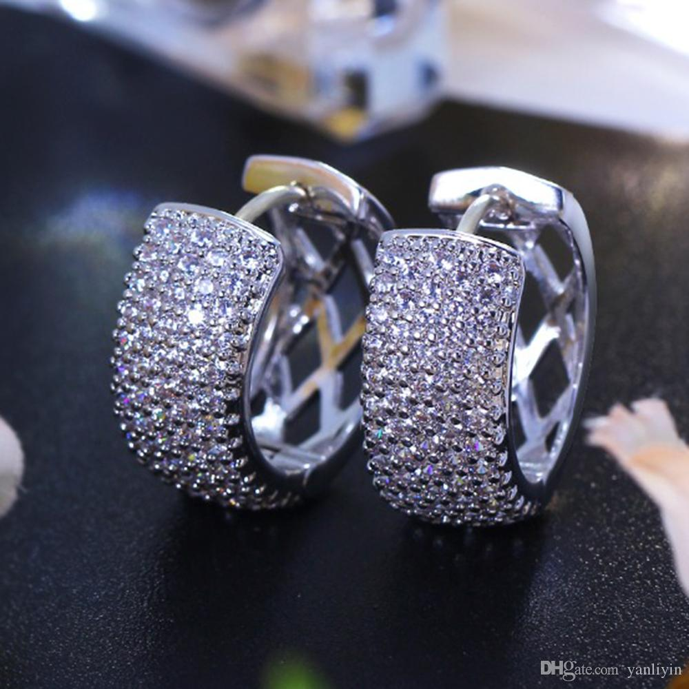 سحر الفضة مطلي اللون جولة القرط تمهيد لامعة زركون كريستال كلاسيكي مجوهرات فاخرة دائرة هوب أقراط للنساء