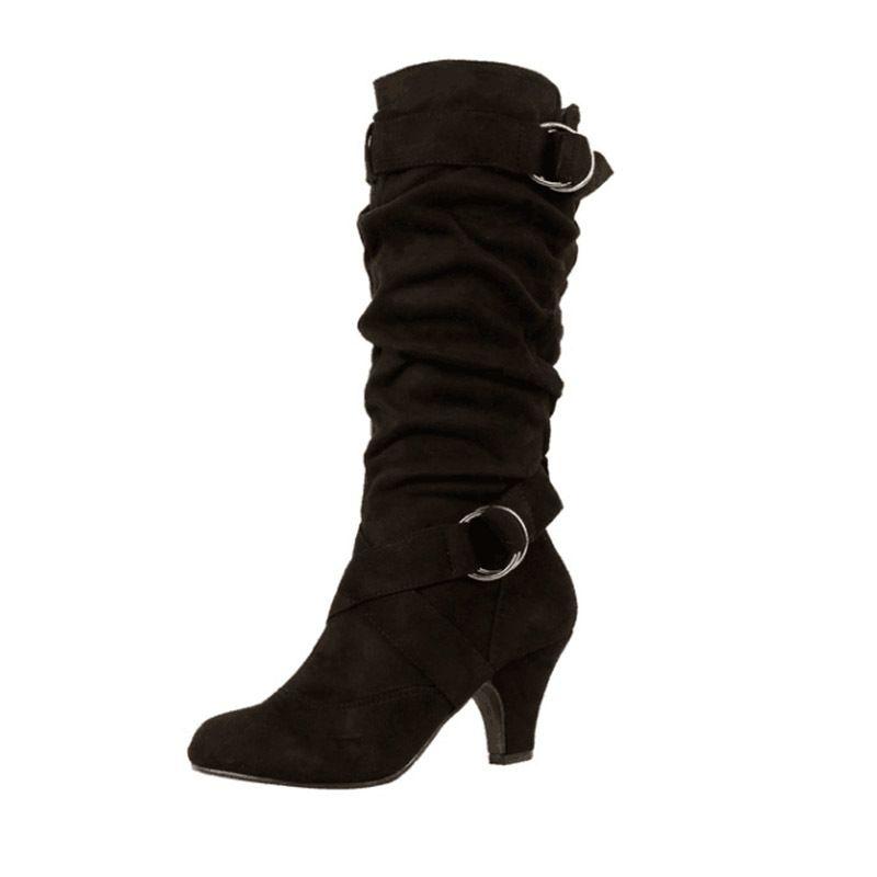WETKIS plissés High Heels Bottes Cross Toe Pointu Chaussures en caoutchouc Tied Femme Flock Chaussures mi-mollet Bottes Femme 2019 Hiver MX200324