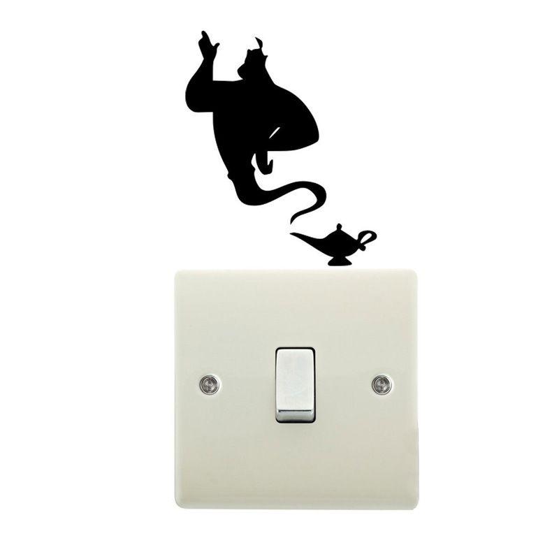 Aladdin Genie Lamp Light Switch Vinyl Decal Bedroom Wall Sticker