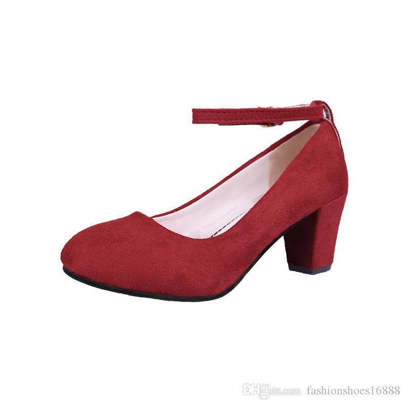 Thick High Heels with Straps Lady's Office Dress Shoes Women Mary Jane Pumps 2019 Fashion Flock Buckle Red Pink Black Pumps Women