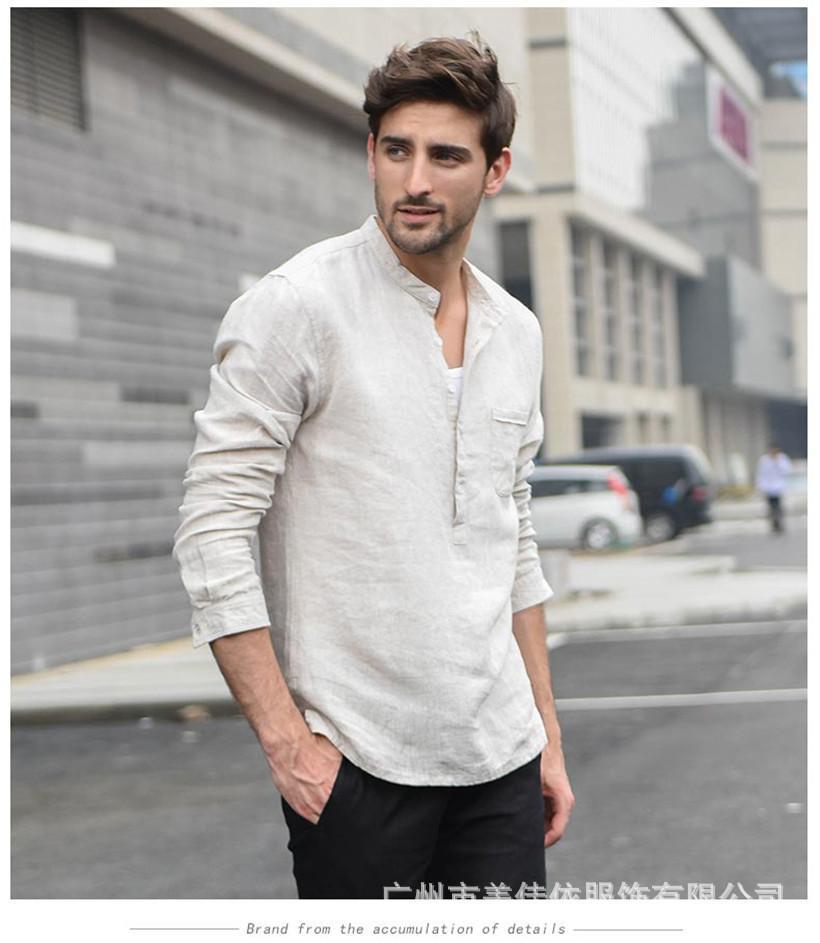 Hommes Chemises Vêtements Blanc Mode 2018 Casual Plein Streetwear Automne Impression Hommes Chemise à manches longues japonais Streetwear