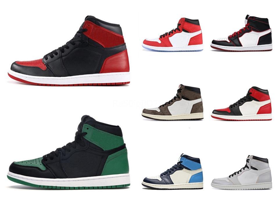 Jumpman 1 Chicago Red pó azul Unc Branco 1S Sneakers Man sapatilha alta qualidade Homens Mulheres tênis de basquete # 192