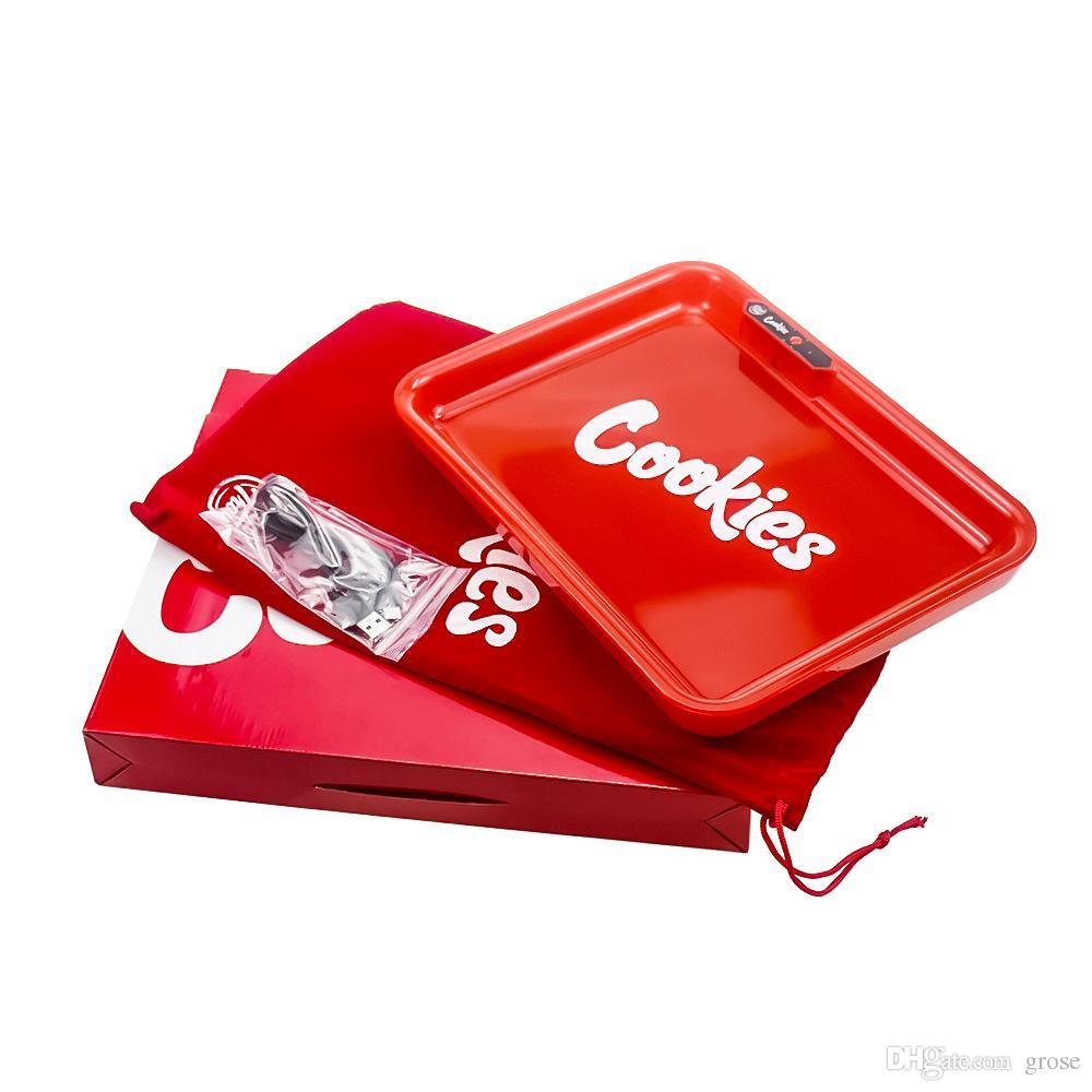 쿠키 LED 조명링 트레이 278*208mm 재충전용 윤기 조명 빛 쿠키 플라스틱 롤 트레이 담배에 대한 저장 쟁반 홀더