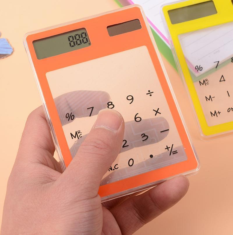 Прозрачный калькулятор творческий студент канцелярские ультра-тонкий Солнечный мини-калькулятор для школы офис Партии пользу