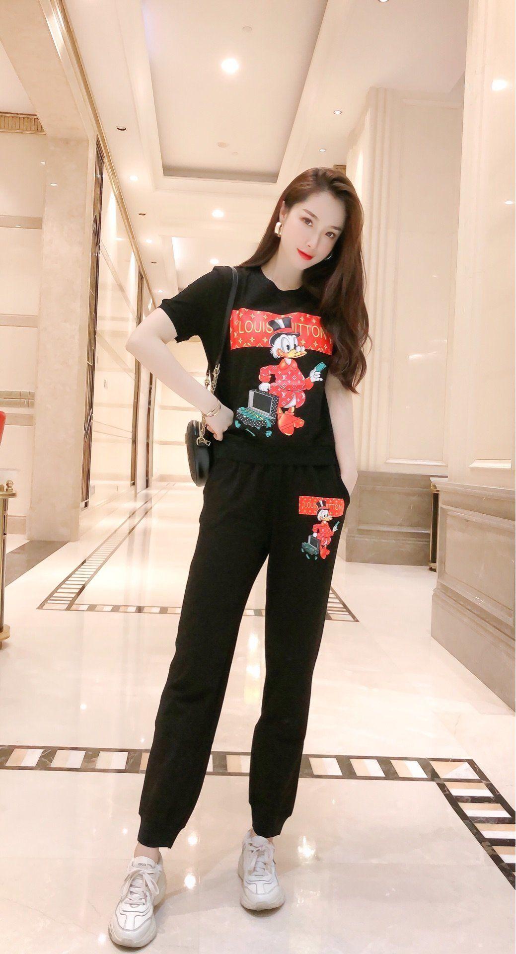 2020 de alta qualidade senhoras calça conjuntos encabeça + calças 2pcs 688T primavera e verão casuais conjuntos de vestuário de moda