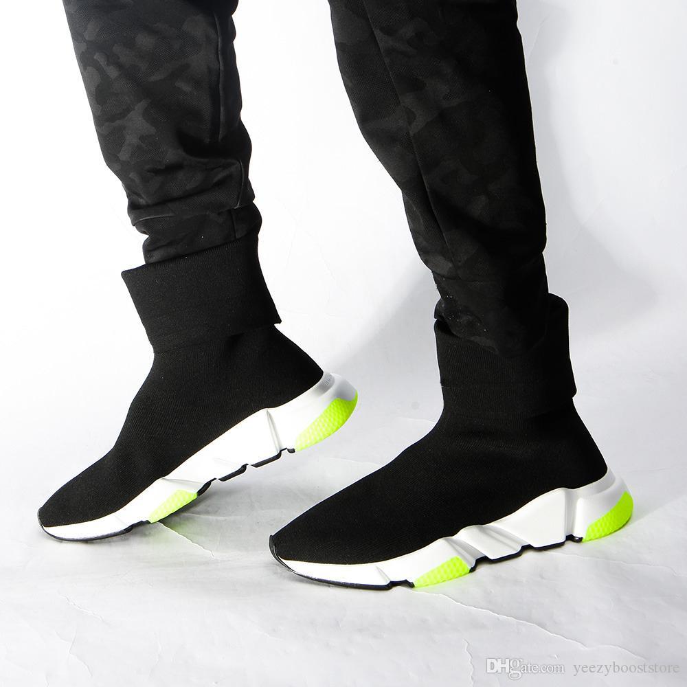 2019 Shoes Speed Trainer Oreo Triplo Preto verde de cal Plano Moda Meias Bota Homens Mulheres Sapatilhas Com Box saco de pó