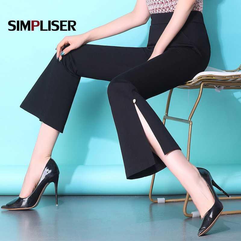 2019 Pantaloni donna a zampa estiva Pantaloni a vita alta neri alla caviglia Pantaloni taglie forti 3XL Femme Pantalon Elastico in vita alta elasticizzata