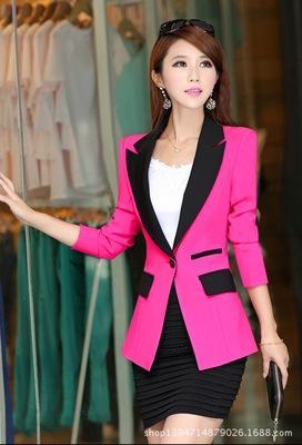 dar kesim kadınlar için uzun kollu küçük takım elbise dikiş Kore tarzı bahar yeni küçük takım elbise kadın ceket 'ın ceket