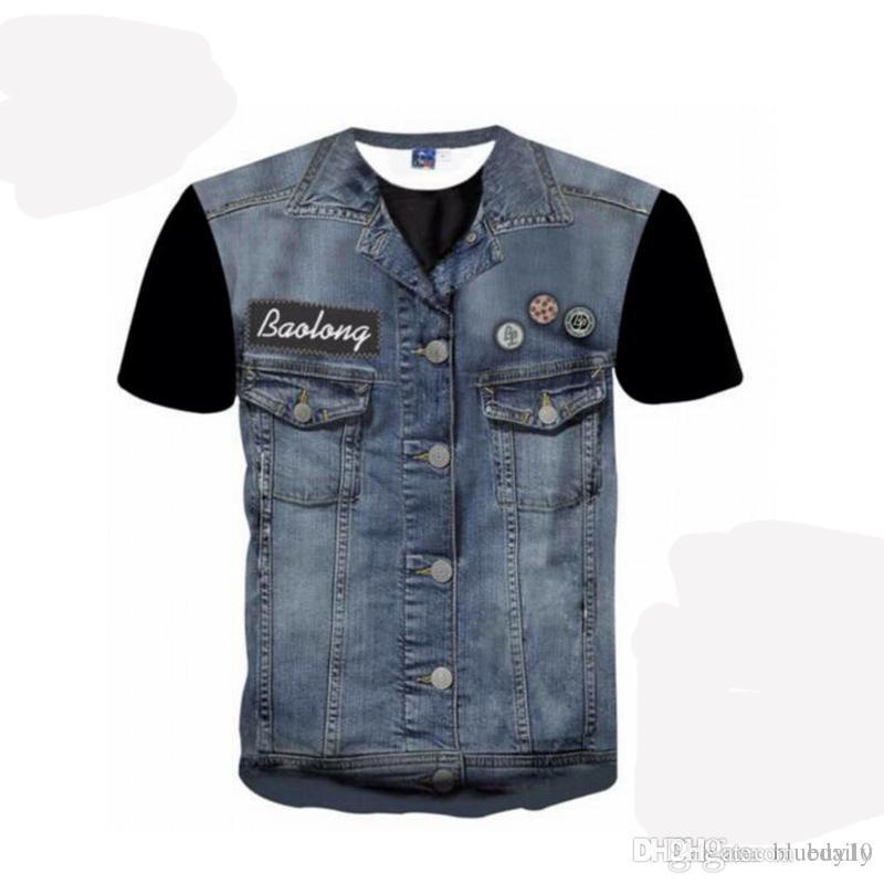 New Hip Hop T-shirt dos homens / mulheres das camisas das camisetas 3d T-shirt Imprimir Falso Jeans Tops tamanho Hipster Camisetas Além disso