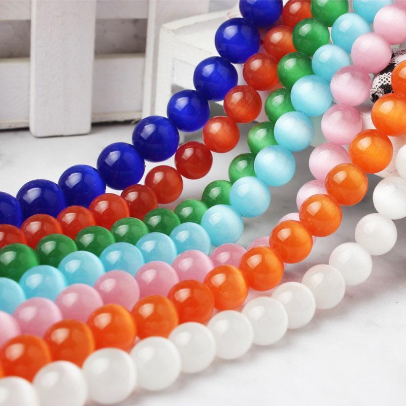 6-12mm mode Sept couleurs de bleu vert jaune rouge orange et violet pierre Cat Eye perles en vrac collier bracelet bricolage