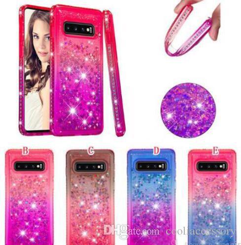 For Samsung Galaxy S20 Ultra PLUS A51 A71 A01 A21 A81 A91 Diamond Liquid Soft TPU Case Quicksand Bling Heart Phone Skin Cover Fashion 100pcs