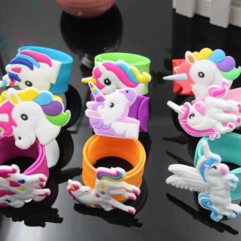 Cartoon silicone Licorne Slap Bracelet Manchettes enfants Cadeau de Noël Will et Sandy Drop Ship