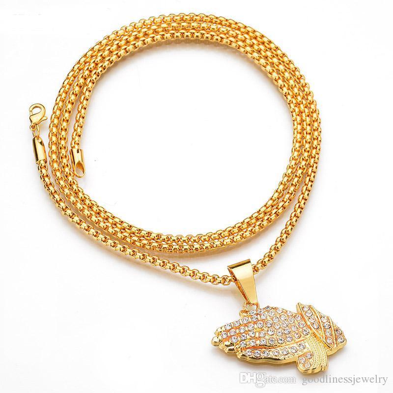 Хип-хоп ювелирных изделий Полный Rhinestone Рука Форма Подвеска довольно ожерелье Женщины Мужчины цвета золота нержавеющей стали ювелирные изделия Религия Молитва Мужчины ожерелье